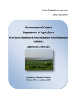 Government of Canada. Department of Agriculture. Maritime Marshland Rehabilitation Administration