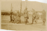 Lady Borden presenting colours to Highland Brigade, Aldershot Camp, N.S.