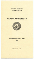 Convocation program, 1935
