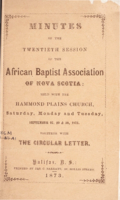 Minutes of the Twentieth Session of the African Baptist Association of Nova Scotia