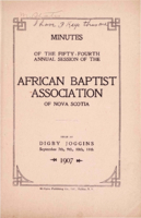 Minutes of the Fifty-Fourth Annual Session of the African Baptist Association of Nova Scotia