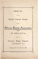 Minutes of the Sixtieth Annual Session of the African Baptist Association of Nova Scotia