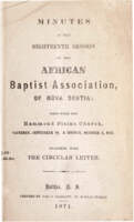 Minutes of the Eighteenth Session of the African Baptist Association of Nova Scotia