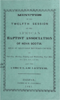 Minutes of the Twelfth Session of the African Baptist Association of Nova Scotia
