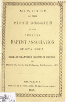 Minutes of the Fifth Session of the African Baptist Association (of Nova Scotia)