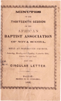 Minutes of the Thirteenth Session of the African Baptist Association of Nova Scotia