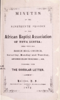 Minutes of the Nineteenth Session of the African Baptist Association of Nova Scotia