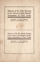 Minutes of the 64th Meeting of the African United Baptist Association of Nova Scotia