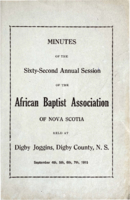 Minutes of the Sixty-Second Annual Session of the African Baptist Association of Nova Scotia