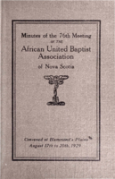 Minutes of the 76th Meeting of the African United Baptist Association of Nova Scotia