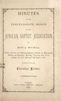 Minutes of the Twenty-Fourth Session of the African Baptist Association of Nova Scotia