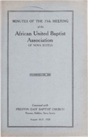Minutes of the 75th Meeting of the African United Baptist Association of Nova Scotia
