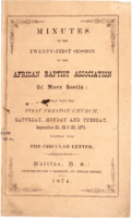 Minutes of the Twenty-First Session of the African Baptist Association of Nova Scotia