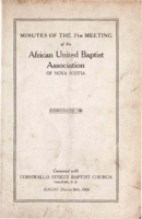 Minutes of the 71st Meeting of the African United Baptist Association of Nova Scotia