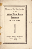 Minutes of the 77th Meeting of the African United Baptist Association of Nova Scotia