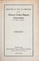 Minutes of the 73rd Meeting of the African United Baptist Association of Nova Scotia