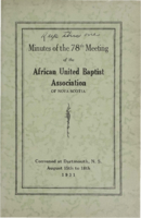 Minutes of the 78th Meeting of the African United Baptist Association of Nova Scotia