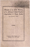 Minutes of the 67th Meeting of the African United Baptist Association of Nova Scotia