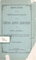 Minutes of the Twenty-Eighth Session of the African Baptist Association of Nova Scotia