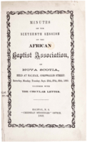 Minutes of the Sixteenth Session of the African Baptist Association of Nova Scotia