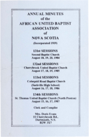 Annual Minutes of the African United Baptist Association of Nova Scotia