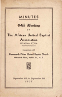 Minutes of the 84th Meeting of The African United Baptist Association of Nova Scotia