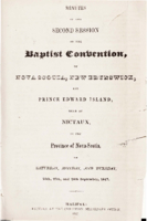 Minutes of the second session of the Baptist Convention of Nova Scotia, New Brunswick, and Prince Edward Island.