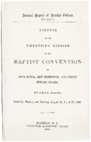 Minutes of the twentieth session of the Baptist Convention of Nova Scotia, New Brunswick, and Prince Edward Island.