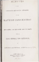 Minutes of the twenty-seventh session of the Baptist Convention of Nova Scotia, New Brunswick, and Prince Edward Island